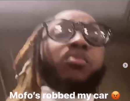 Nigerian Rapper Yung6ix in tears after his valuable pieces of jewelry was stolen in his car in the United State of America.