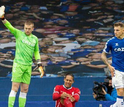 Van Dijk facing a six to eight-month injury after a horror challenge from Everton goalkeeper Jordan Pickford