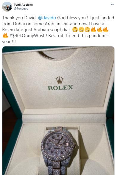 Davido's $40 relax watch, JotNaija